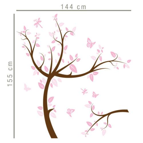 Árvore Rosa Infantil em Vinil Autocolante Dimensões