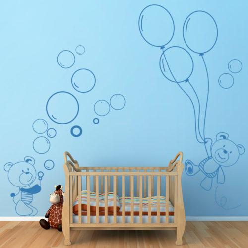 Decoração de Parede Ursinhos e Balões