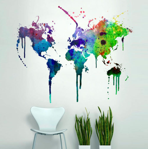 Mapa Mundo em Aguarela decoração vinil