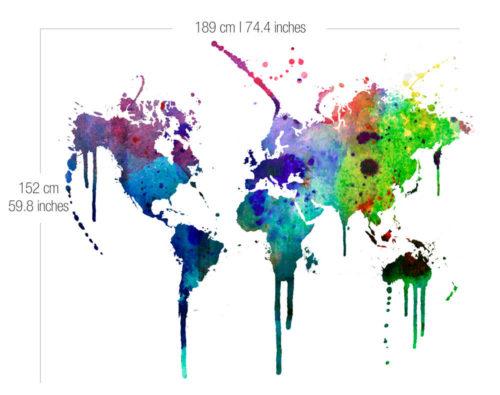 Mapa Mundo em Aguarela decoração vinil Detalhes