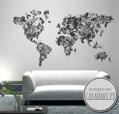 Tribal Floral World Map Sticker
