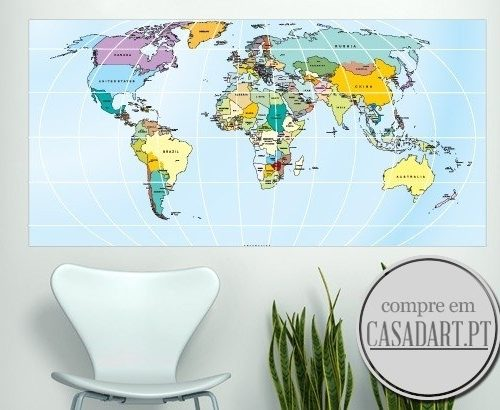 Rectangular World Map Sticker
