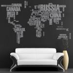 World Map Text Sticker