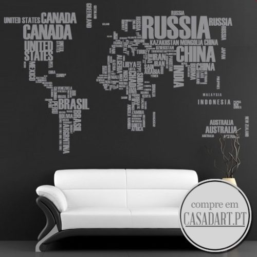 World Map Text Sticker