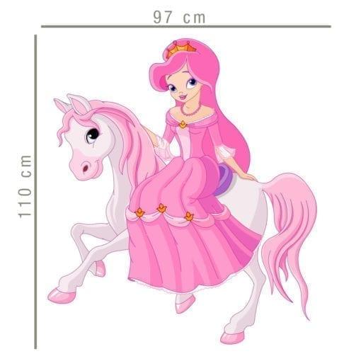 Princesa e Pónei em Tecido Autocolante Dimensões
