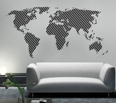 Mapa Mundo Linhas Diagonais vinil decorativo