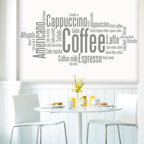 Café em Diversos Idiomas Vinil Autocolante
