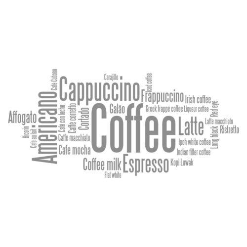 Café em Diversos Idiomas Vinil Autocolante Detalhe