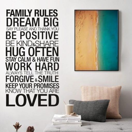 Family Rules em Vinil Autocolante