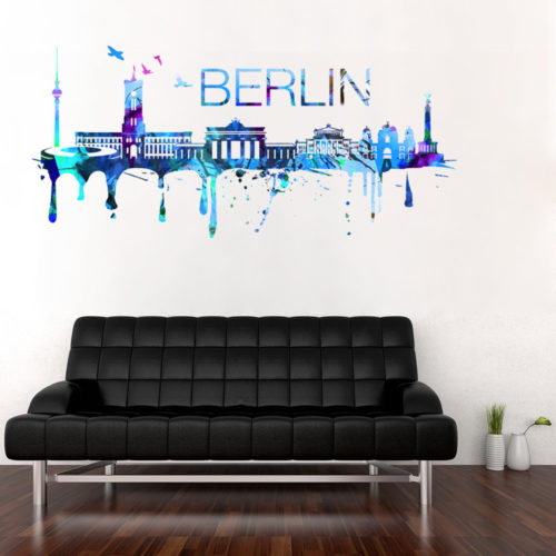 Berlin Skyline Watercolor Stickers Modelo 1