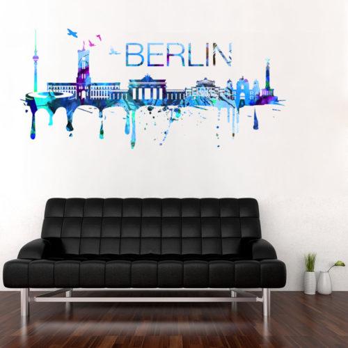 Berlin Skyline Watercolor Stickers Modelo 1