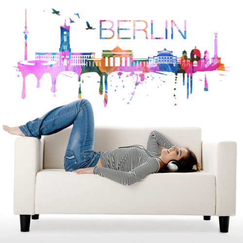 Berlin Skyline Watercolor Stickers Modelo 2