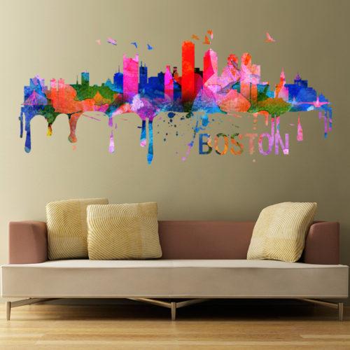 Boston Skyline Watercolor Stickers