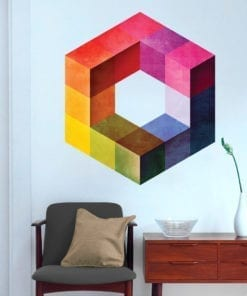 Cubo Retro Moderno Impossível vinil parede
