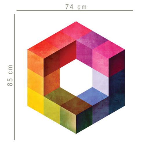Cubo Retro Moderno Impossível vinil parede Dimensões