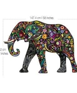 Elefante Colorido vinil autocolante Dimensões
