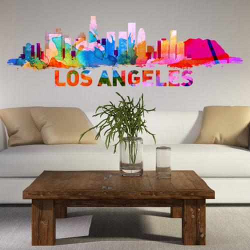 Los Angeles Skyline Watercolor Stickers