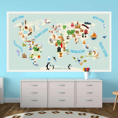 Mapa Mundo Infantil decoração de paredes
