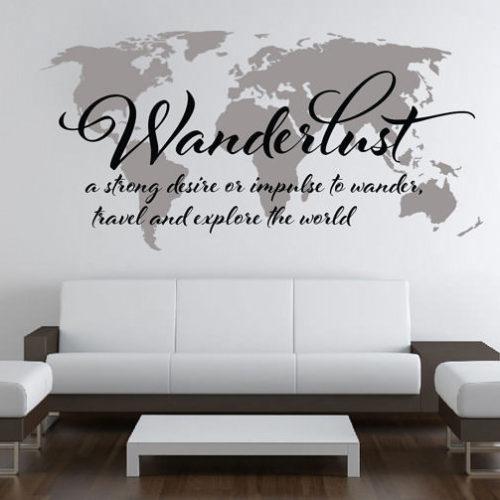 Mapa Mundo Wanderlust vinil autocolante