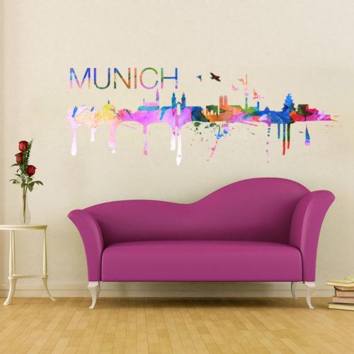 Munich Skyline Watercolor Stickers Modelo 1