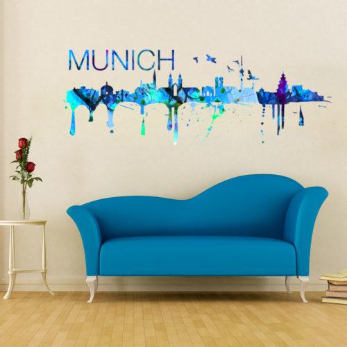 Munich Skyline Watercolor Stickers Modelo 2