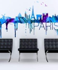 Paris Skyline Watercolor Stickers Modelos 1