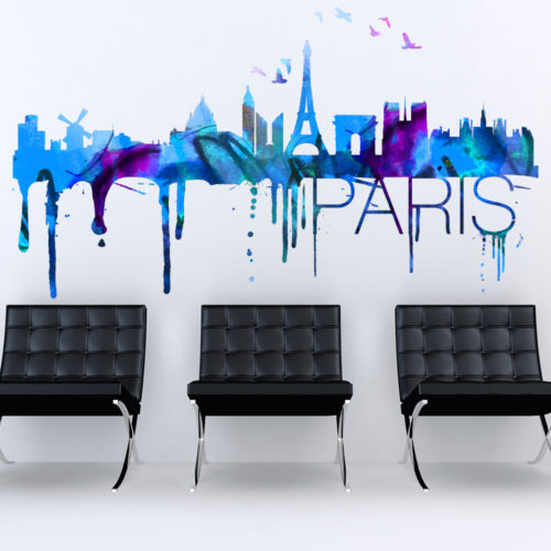 Paris Skyline Watercolor Stickers Modelos 1