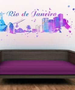 Rio de Janeiro Skyline Watercolor Stickers