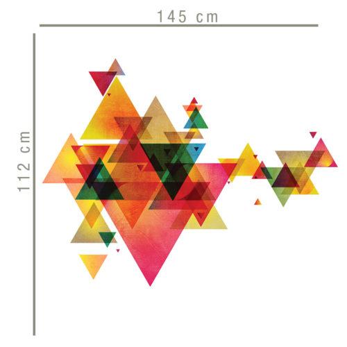 Triângulos Futuristas decoração de paredes Dimensões