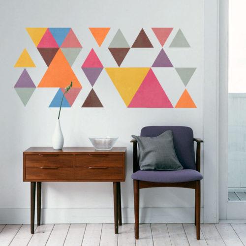 Triângulos Coloridos Estilo Retro Vinil Parede