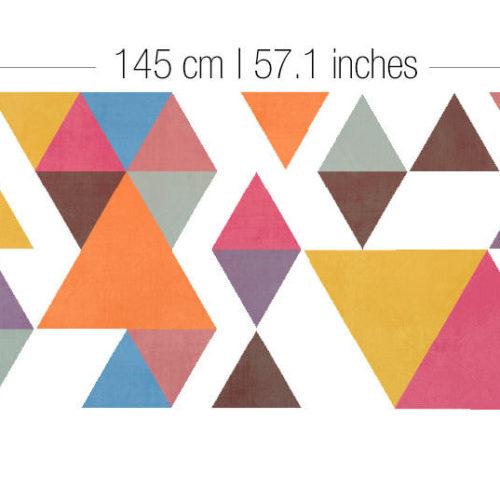 Triângulos Coloridos Estilo Retro Vinil Parede Dimensões