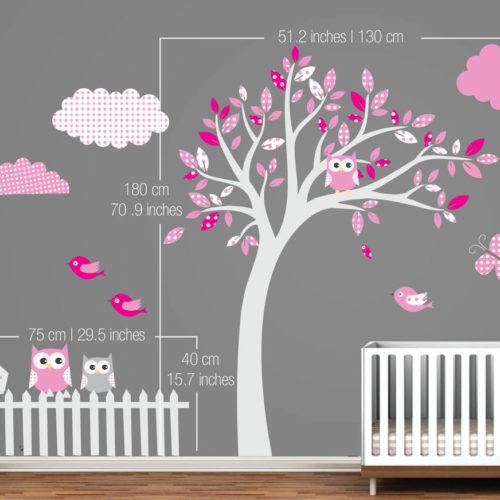 Árvore com Padrões Vinil Decorativo Rosa Dimensões