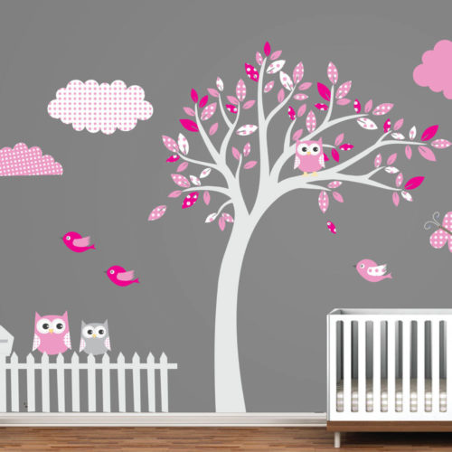 Árvore com Padrões Vinil Decorativo Rosa