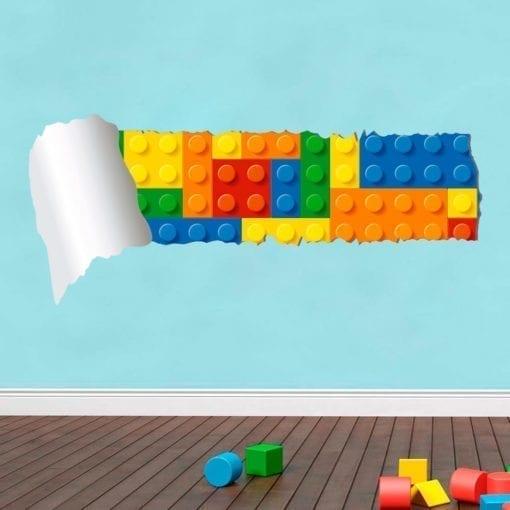 Lego Efeito Parede Rasgada Vinil Autocolante