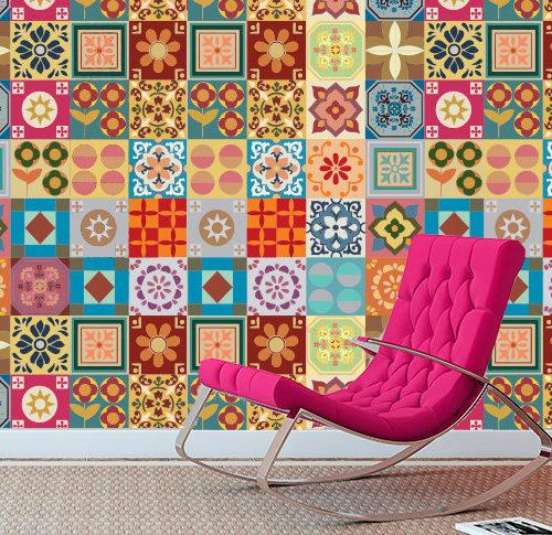 Patchwork azulejos autocolantes