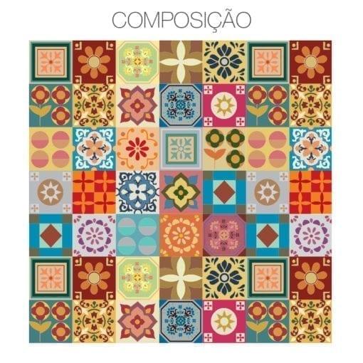 Patchwork azulejos autocolantes composição