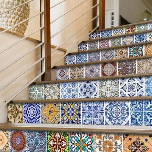 Portuguese Tiles Azulejos Stickers - Stairs