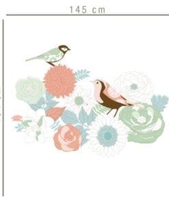 Vinil Impresso Pássaros em Bouquet Dimensões