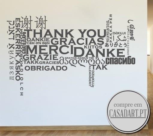 Obrigado em várias linguas - Vinil decorativo