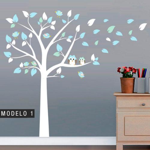 Árvore de decoração com Mochos e Pássaros - 1