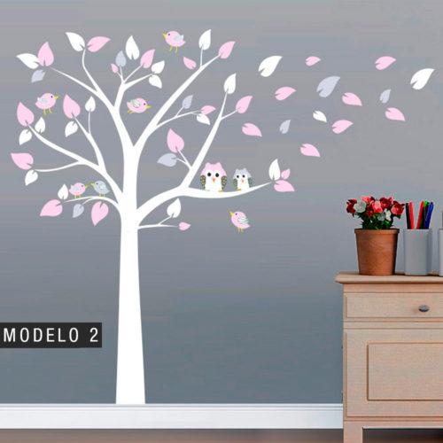Árvore de decoração com Mochos e Pássaros - 2