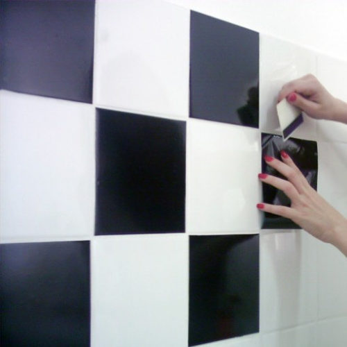 Branco para Preto azulejos autocolantes