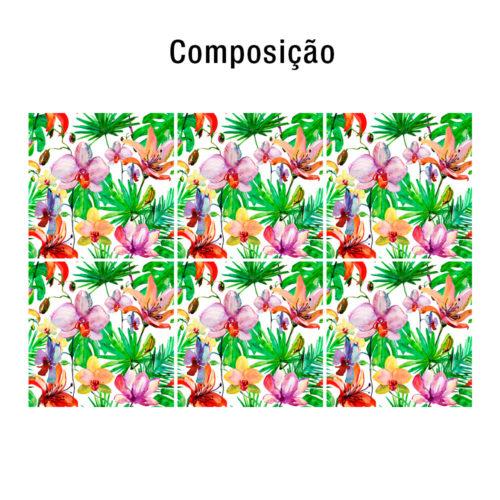 Flores Aguarela decoração de azulejos Composição