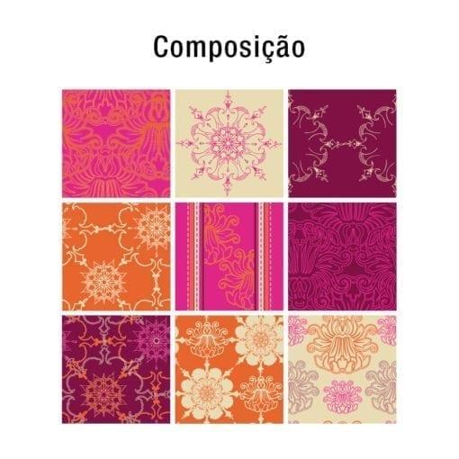 Indian Patchwork azulejos autocolantes Composição