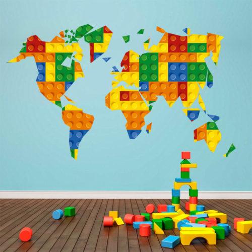 Mapa Mundo Lego decoração infantil
