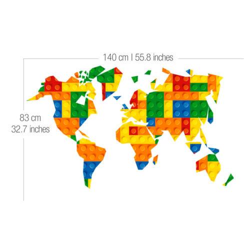 Mapa Mundo Lego decoração infantil Dimensões