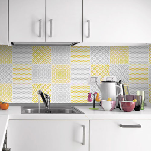 Padrões Amarelo e Cinza revestimento para azulejos