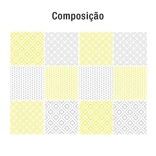 Padrões Amarelo e Cinza revestimento para azulejos Composição