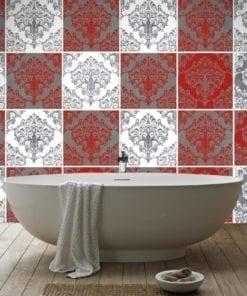 Red Damask revestimento para azulejos