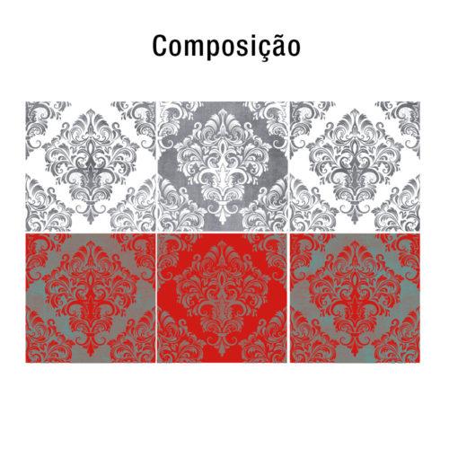 Red Damask revestimento para azulejos Composição